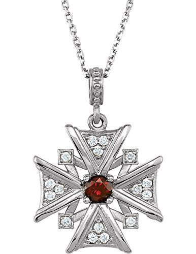 Mozambique Garnet and Diamond Vintage-Style Cross 14k White Gold Necklace, 18'' by The Men's Jewelry Store (for HER)