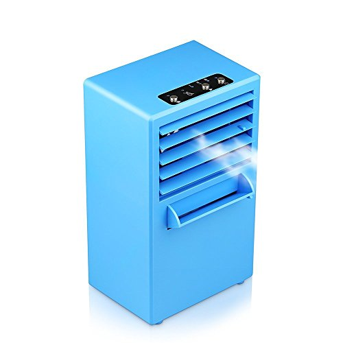 HCE Mini Portable Air Conditioner Fan Personal Desktop Evaporative Air Cooler Misting Humidifier Bladeless for Office, Dorm, Nightstand (Blue)