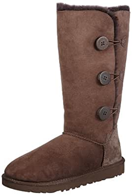 UGG Women's Bailey Button Triplet Chocolate Sheepskin 6 B - Medium