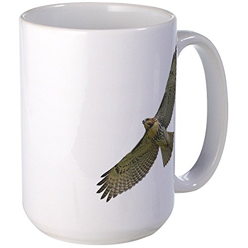 CafePress Soaring Red-Tail Hawk Large Mug Coffee Mug, Large 15 oz. White Coffee Cup