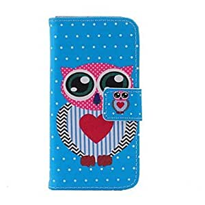 zxc Blue Owl Love Polka Dot Pattern PU Leather Cover with Stand and Full Body Case for Samsung Galaxy S4 Mini I9190