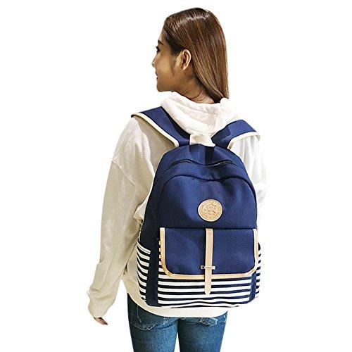Bag Shoulder Backpack Girls Blue Women Canvas Bags Black Bags Shoulder School Preppy Bookbags Travel UAdrwUq6x