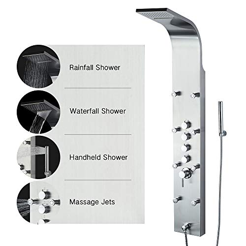 Shower Panel BATH MASTER 61'' Rainfall Waterfall Tower System 8 Body Message Jets Stainless Steel Bathroom Wall Mount Shower Set With Multi-function Hand Held Shower Head, Brushed Nickel Finish