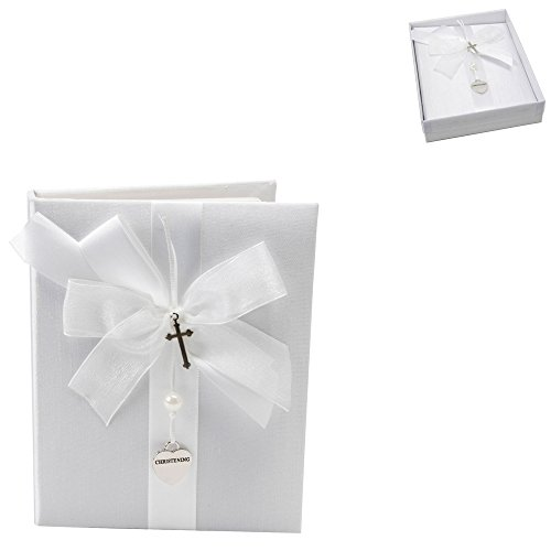 White Satin Christening Photo Album With Silver Heart And Cross By Haysom Interiors
