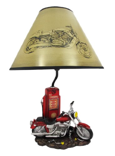 Resin Table Lamps Memory Lane Retro Motorcycle 19 Inch Table Lamp 12 X 19 X 12 Inches Multicolored Resin Memory