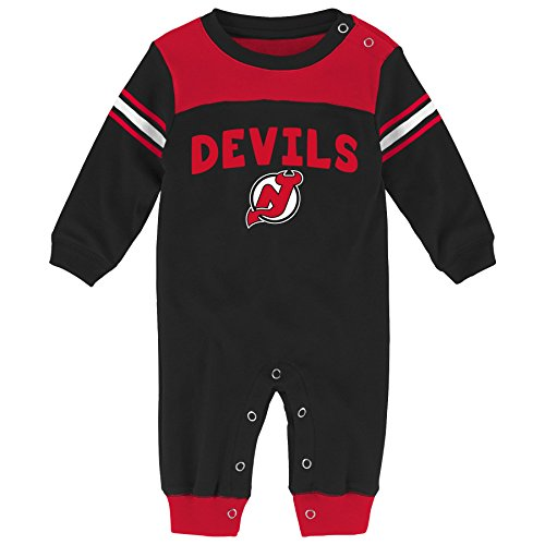 Outerstuff NHL New Jersey Devils Children Boys Penalty Box Kid Long sleeve Coverall, 6-9 Months, Black