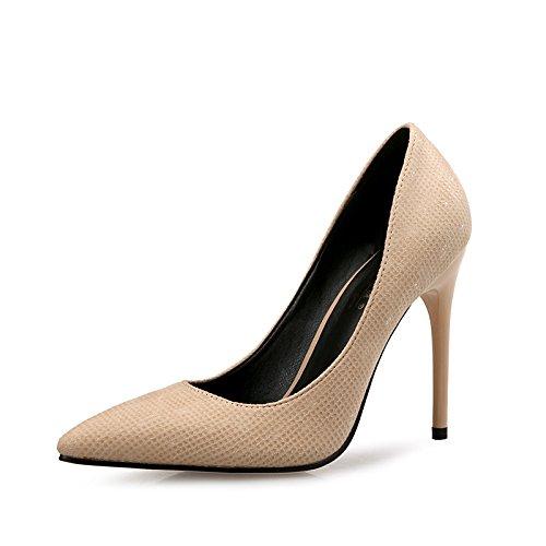 FLYRCX Scarpe a Punta fine delle Donne Moda Temperamento Scarpe col Tacco Alto Scarpe da Sposa Partito, 32 UE, D