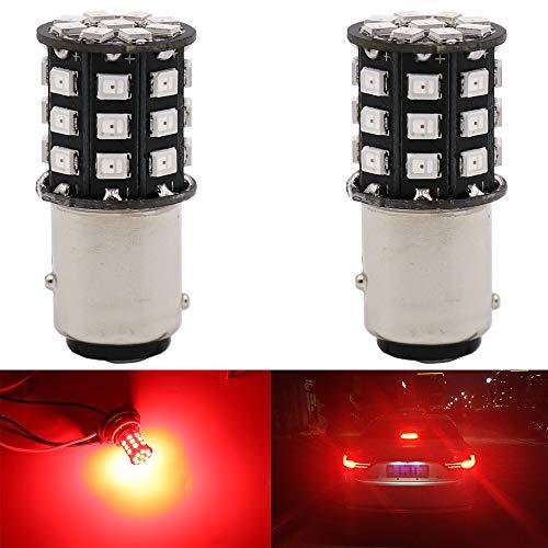 AMAZENAR 2-Pack 1157 BAY15D 1016 1034 7528 2057 2357 Car Brake Lights - 12V-24V Extremely Bright Red 2835 33 SMD LED Light Bulb - Replacement for Tail LED Bulb ()