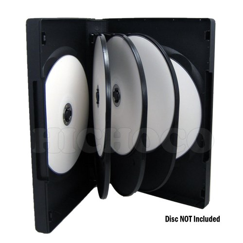 Maxtek Black 8 Disc DVD Cases with 3 Flip Trays and Outter Clear Sleeve, 10 Pack by Maxtek