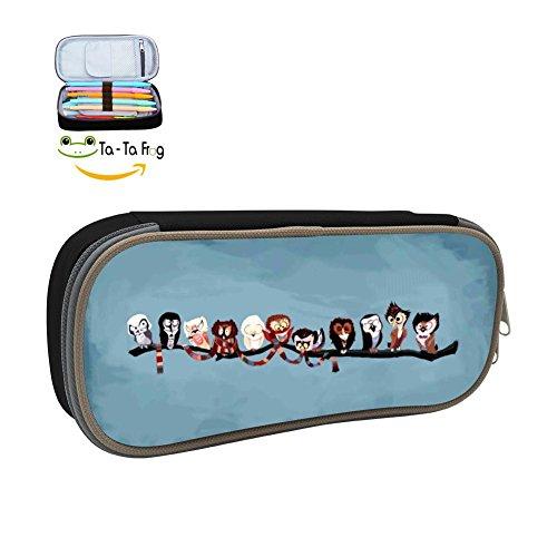 Custom Funny Owls Pencil Case - Big Capacity Double Zipper Multifunctional Black Stationery Bag For Girls Boys