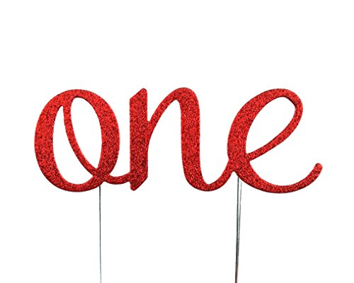 (CMS Design Studio Handmade 1st Birthday Cake Topper Decoration - One - Double Sided Glitter Stock (Red))