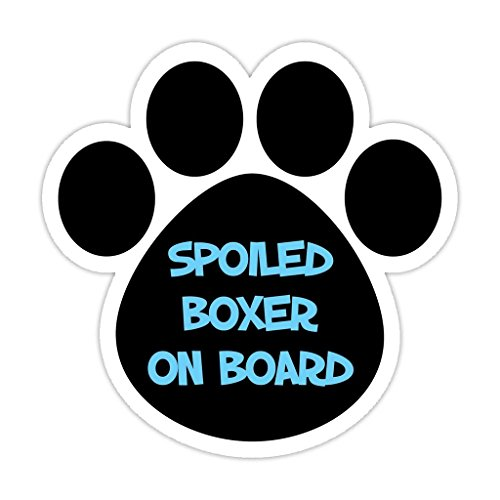 (Dog Paw Shaped Bumper Sticker Vinyl Decal: Spoiled Boxer On Board | Dogs, Gifts 5
