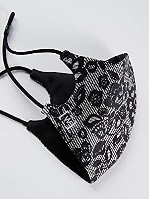 Wolford Women's Luxury Reversible Lace Silk Face Mask (Color: Black Print/Reversible, Tamaño: One Size)