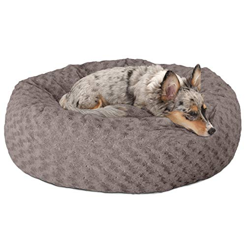 FurHaven Pet Donut Bed | Deep Dish Curly Fur Donut Pet Bed for Dogs & Cats, Cocoa Dust, Medium
