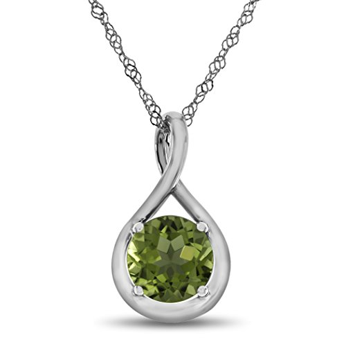 Finejewelers 7mm Round Peridot Twist Pendant Necklace Chain Included Sterling Silver (10k Peridot Necklace)