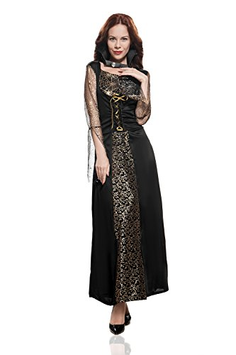 Adult Women Vampire Costume Halloween Cosplay Role Play Night Bat Demon Dress Up (Small/Medium, Black, Gold) - Succubus Halloween Costumes