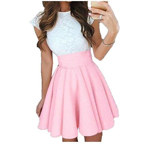 Winwinus Womens Empire Waist Pleated Slim Fit Party Bubble Skirt Pink S (Pleated Bubble)