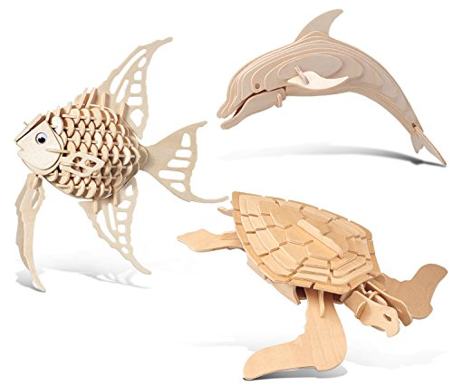 Green Angel Fish (Puzzled Angel Fish, Bottle Nose Dolphin and Green Turtle Wooden 3D Puzzle Construction Kit)