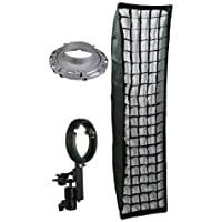 ePhoto Large 12 x 48 Honeycomb Grid Off Camera Strip Softbox Soft Box for both Both Bowen Strobe or Nikon Canon Portable Flash Mount LBW30120GD