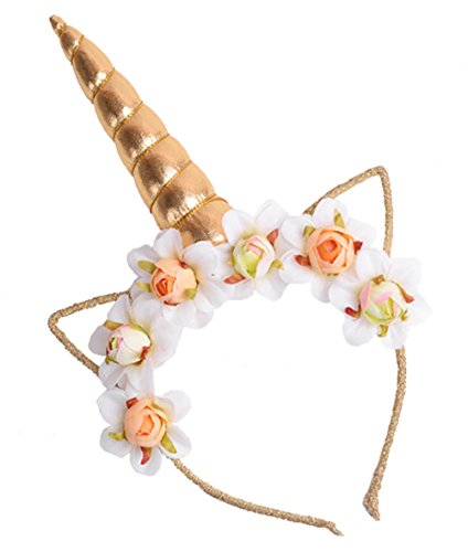 Gorse Unicorn Hair Hoop Headband Cosplay Costume Easter Headpiece Princess Artificial Flowers Girl Women Gold