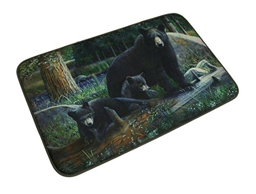 Realistic Black Bear Family Bath Mat