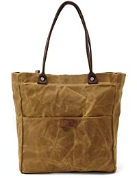 Womens Canvas Waterproof Shoulder Hand Bag Tote Bag (Khaki)
