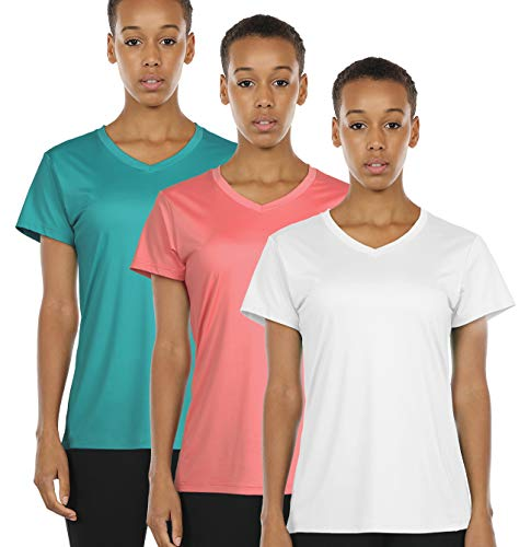 icyzone Workout Shirts Yoga Tops Activewear V-Neck T-Shirts for Women Running Fitness Sports Short Sleeve Tees (M, Off White/Peacock - Womens Peacock V-neck