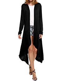Meaneor Women's Long Sleeve Waterfall Asymmetric Drape...