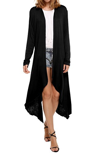 Meaneor Women's Long Sleeve Waterfall Asymmetric Drape Open Long Maxi Cardigan,  Medium, -