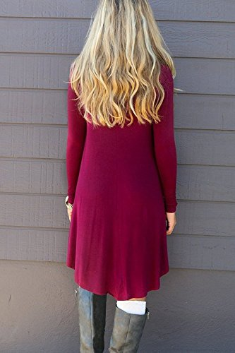 Dress Flowy Pockets Sleeve Swing Long Red Casual Gs T TINYHI Women's Fit Wine Shirt Loose nWRfWPTc