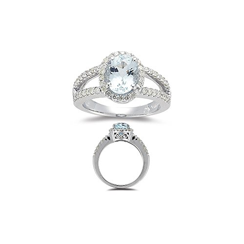 Vogati 2.25 Cts Diamond & 9x7 mm AA Oval Aquamarine Ring in 14K White Gold-8.5