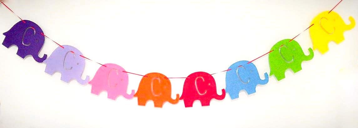 Elephant Party Favors,Birthday Party Banner Set of 8 Pieces Colorful Elephant Flags Birthday Party Supplies E/&L Elephant Pal Party Themed Decorations Kit
