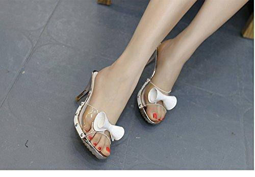 Awxjx Sommer Damen Flip Flops Hälfte Drag High Heel Heel High Transparent Feines mit Outdoor Fliege Weiß 668b9c