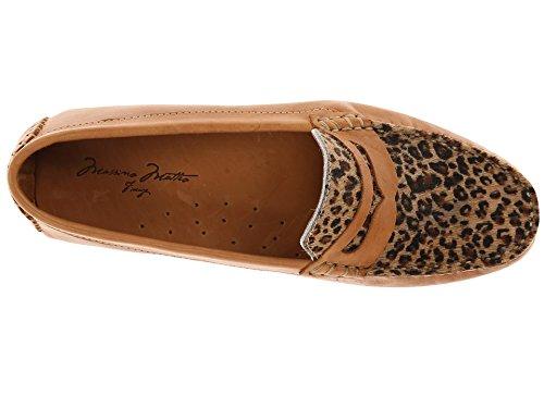 Moccasin Matteo Cheeta Shoes Vamp Penny Cheeta Women's Bison Massimo with Tan FqAnzCwzZx