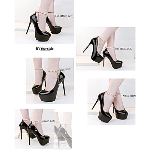 Fashion Zapatos Purple High de HWF mujer Tamaño Mujer cuentas de Heels mujer Zapatos Con Negro 14cm princesa mujer para Zapatos Thin Color Nightclub Heel soltera Sexy 37 wqvA0gntA
