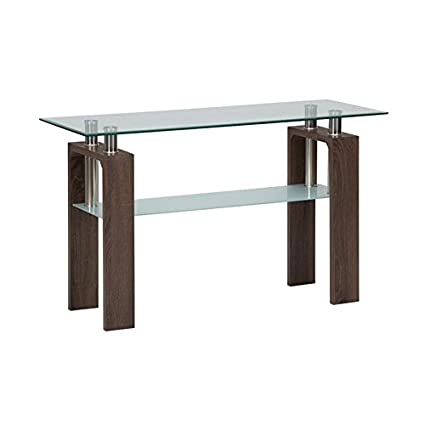 Amazon Com Jofran Compass Glass Sofa Table In Chrome And Wood