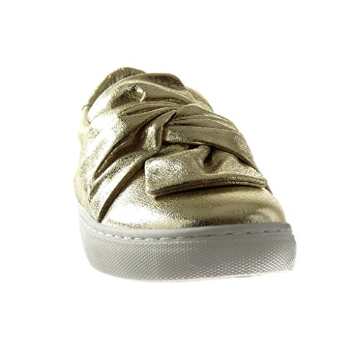 Angkorly Damen Schuhe Sneaker - Slip-On - Fliege - Glänzende Flache Ferse 2.5 cm Gold