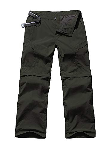 (Women's Outdoor Anytime Quick Dry Cargo Pants Convertible Hiking Camping Fishing Zip Off Stretch Trousers 6063,Army Green 38)