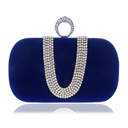 Color evening Bag Fashion Diamond Banquet Fly Blue Red Hand shaped worn Bag bag U Evening Women's Bag Evening encrusted qXtxXwgHa6