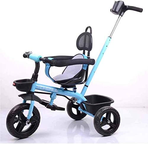 Lu Bicicleta de 3 Ruedas para niños Asiento Giratorio Barra de Empuje Desmontable Carrito Infantil Triciclo,Azul: Amazon.es: Deportes y aire libre