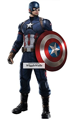 10 Inch Captain America Shield Civil War Team Cap Marvel Avengers Comics Removable Wall Decal Sticker Art Home Decor Kids Room Boys Decoration 5 1/2 x 10 1/2 inches