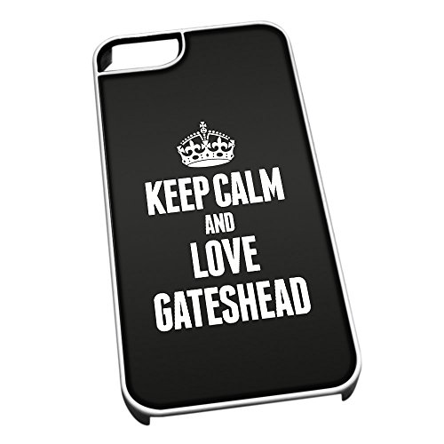 Bianco cover per iPhone 5/5S 0274 nero Keep Calm and Love Gateshead