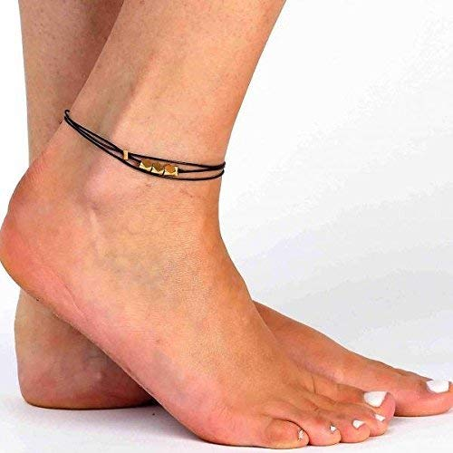 Beaded Anklet Black Ankle Bracelet For Women Handmade Black Anklet For Women Set With 3 Gold Plated Beads By Galis Jewelry