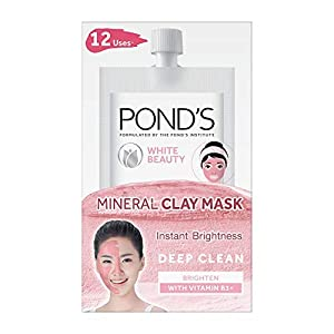 POND'S White Beauty Instant Brightness Vitamin B3+ Mineral Clay Mask 8g X 6- Pack of 6