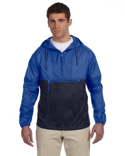 Nylon Pullover - Harriton mens Packable Nylon Jacket(M750)-ROYAL/ NAVY-3XL