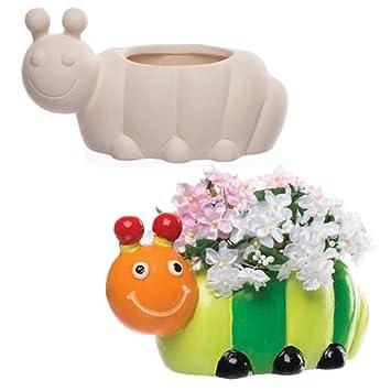 Baker Ross Keramik Blumentopfe Raupe Fur Kinder Zum Gestalten