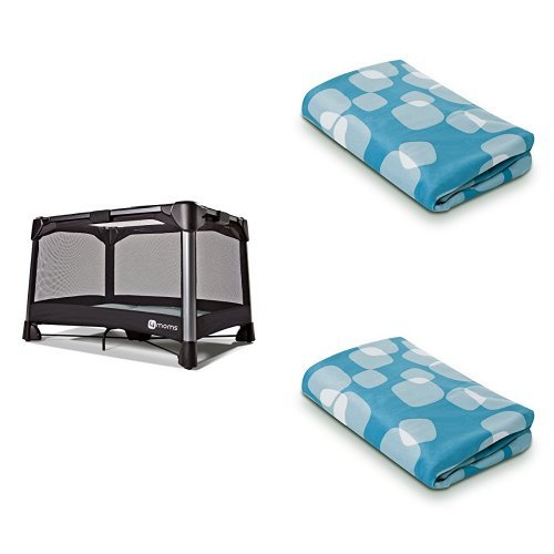 4moms Grey Breeze Play Yard with Blue Bassinet Sheet and Play Yard Sheet by 4moms