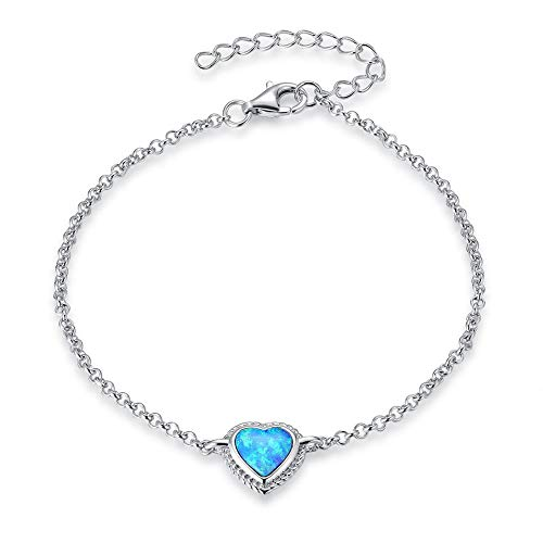 "Fancime Sterling Silver Heart Created Opal Link Bracelets Cable Chain Dainty Charm Bracelets for Women Girls 6""+2"""