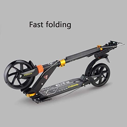 HSBAIS 大人のスクーター、調整可能 折り畳み可能 スクーターアルミダブル衝撃吸収大人のスクーター 大人向け,black_90x105cm