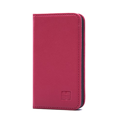 ather Wallet Case Designed by 32nd, Classic Real Leather Design with Card Slot, Magnetic Closure and Built in Stand - Rose Pink ()
